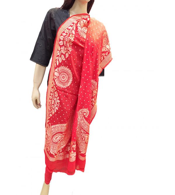 Georgette Silk Handwoven Dupatta from Banaras