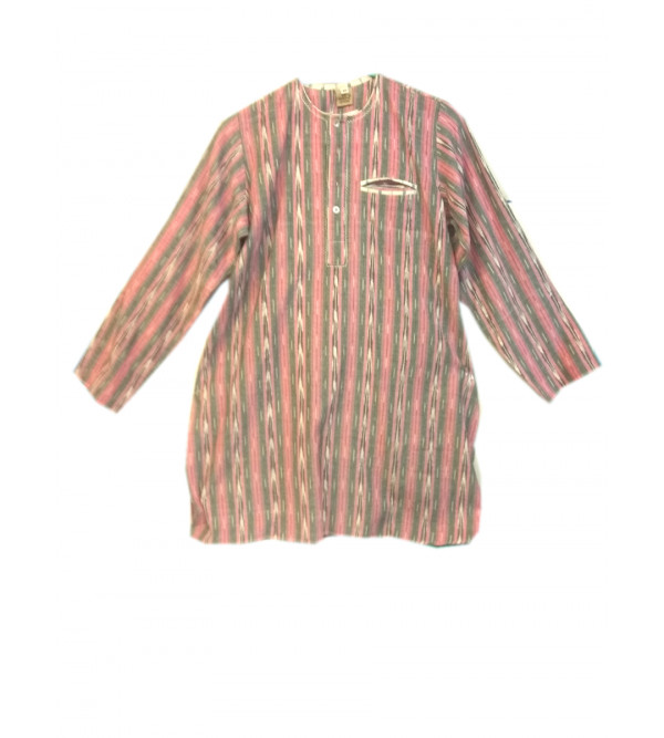 Cotton Ikat Kurta Pajama Set Size 10 to 12 Yr