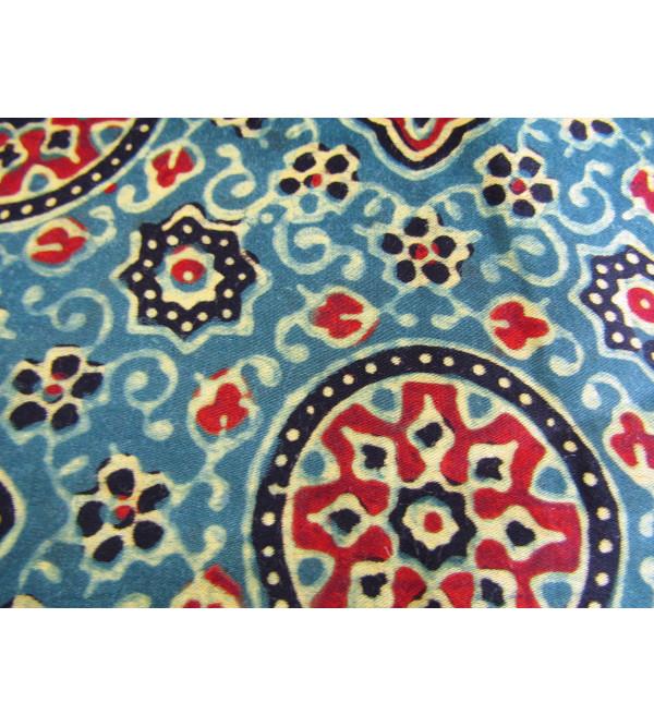 Azrakh Block Printed Cotton Silk Saree Size 6.3 Meter