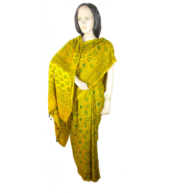 Azrakh Block Printed Gazi Silk Saree Size 6.3 Meter