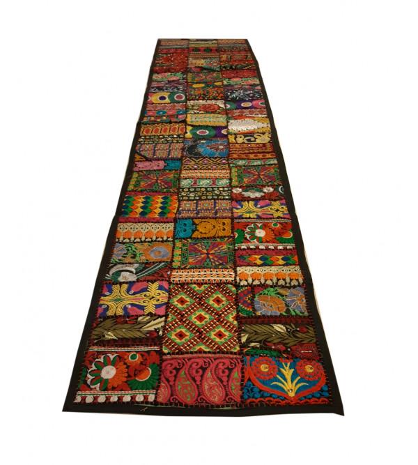 Cotton Applique Work Runner With Kantha Stitch Size 13x72 Inch