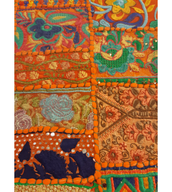 Cotton Applique Work Runner With Kantha Stitch Size 14x90 Inch