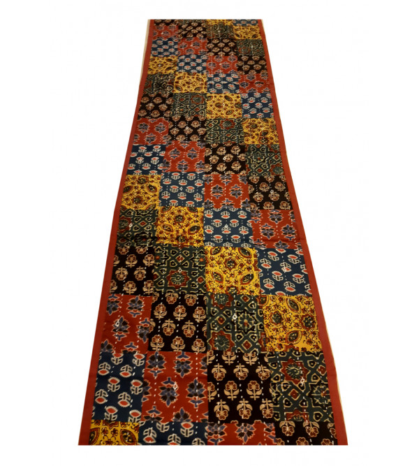 Cotton Applique Work Runner With Kantha Stitch Size 14x60 Inch