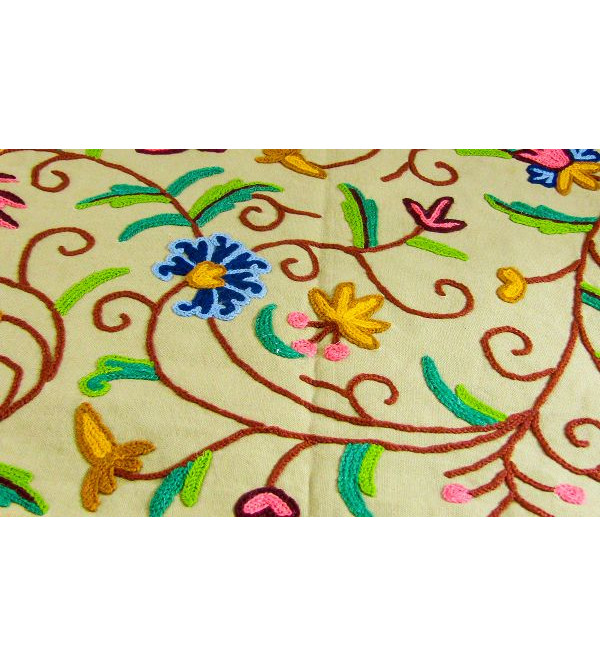 Crewel hand-embroidered Kashmiri's table runner Size 13x120 Inch