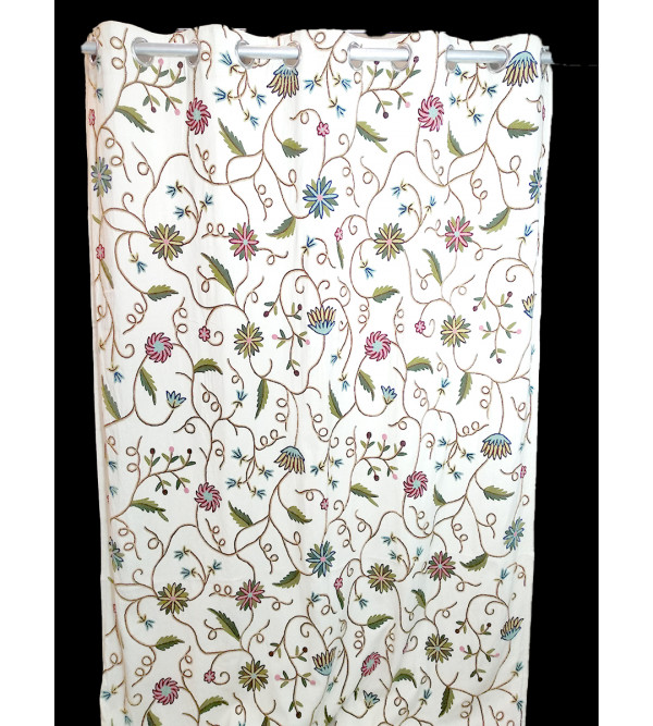 100 INCH CREWEL MULTY EMB RAJASTHAN COTTON CURTAINS