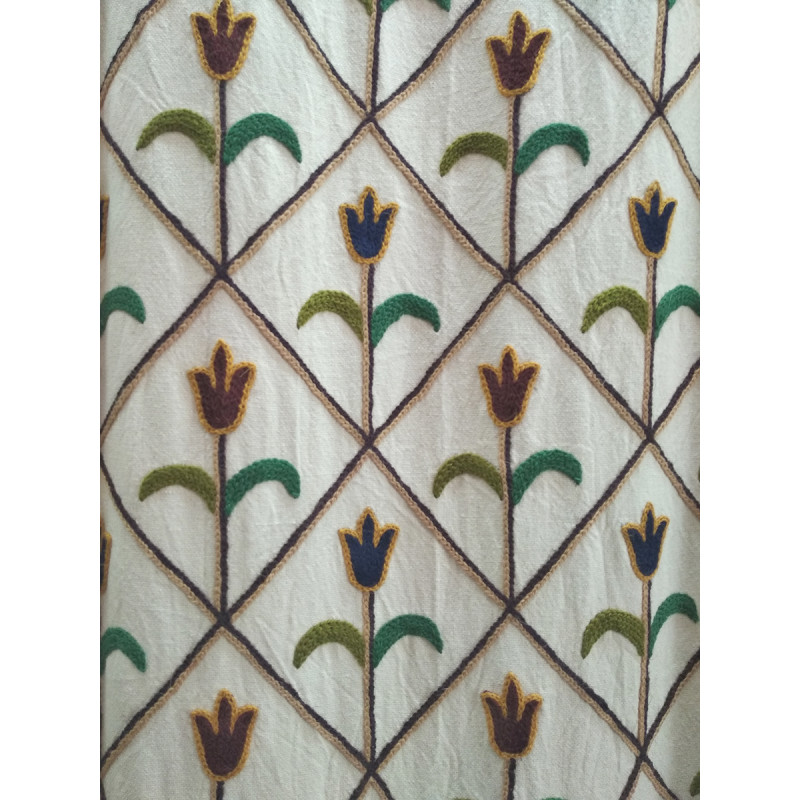Cotton Crewel Hand embroidered  Fabric Width 54 Inch