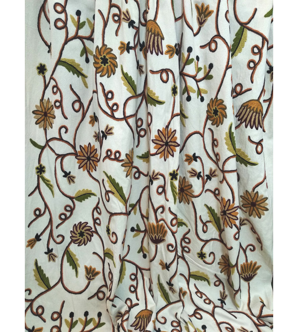 Crewel Hand Embroidered Fabric from Kashmir Width 54 Inch
