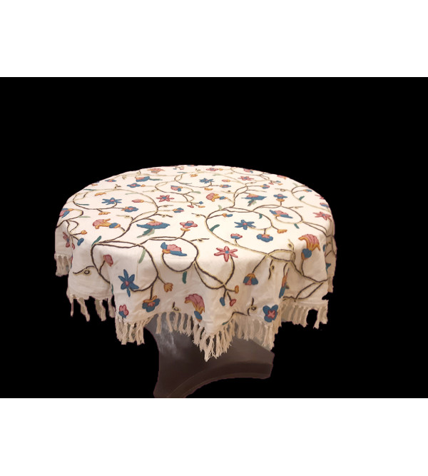 48 INCH ROUND SQ. WOOL EMB. COTTON TABLE COVER