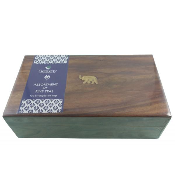 120 Pcs Tea Bags In Wooden Box Assorted