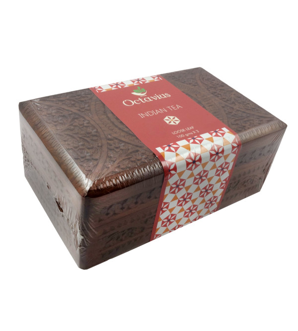 ASSORTED 2 BLACK TEA IN CARVED WOODEN BOX  ASSAM DARJEELING100 GMS EACH