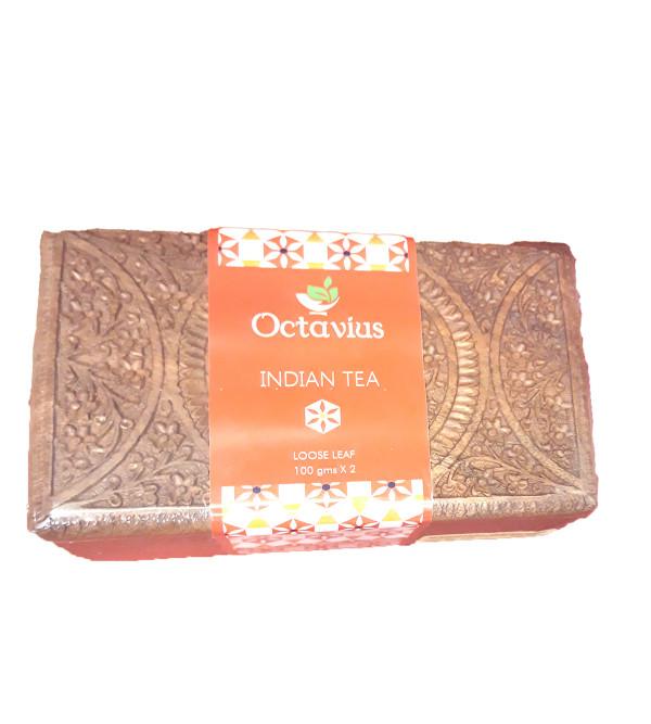 ASSORTED 2 BLACK TEA IN CARVED WOODEN BOX  ASSAM DARJEELING100 GMS EACH