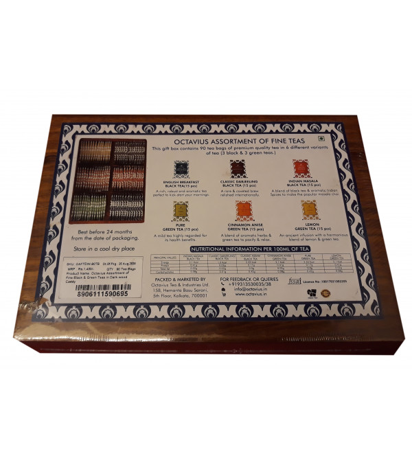 """90 tea bags in 6 different flavours wooden box 6""""x9"""""""