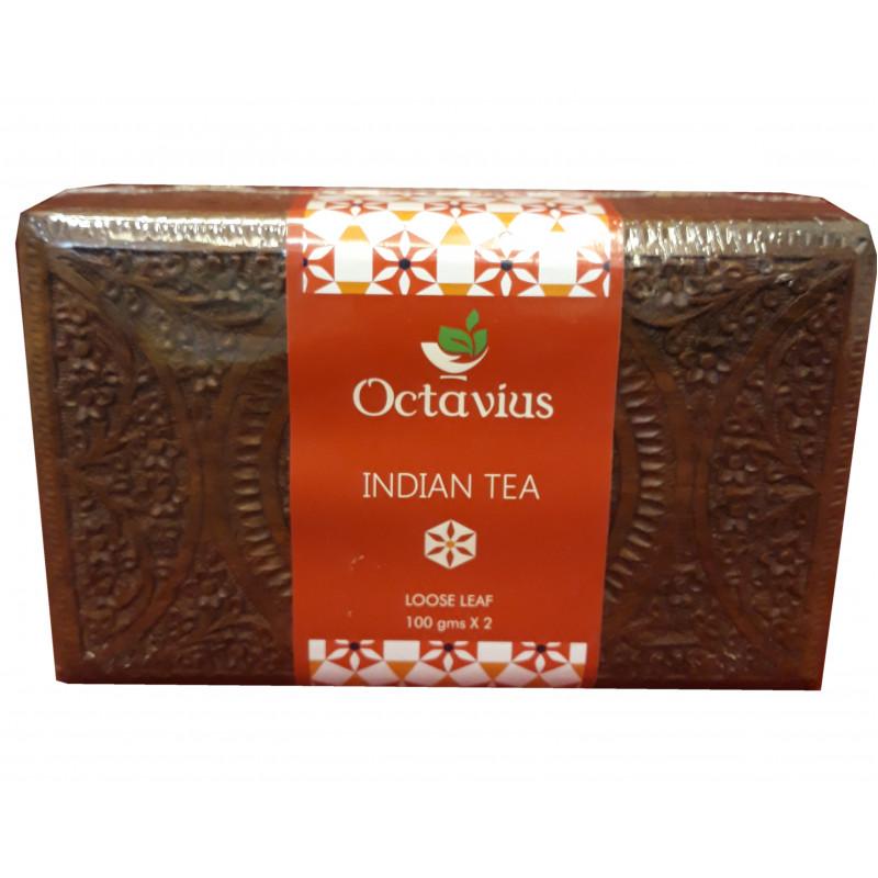 Assorted Black  Assam And Darjeeling  Tea 200gm In Carved Wooden Box