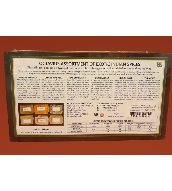 Assorted 6 Exotic Indian Ground Spices In Wooden Box 540gm