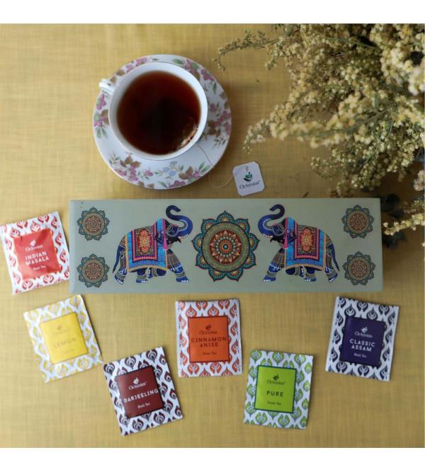 Assortment Of Black  Green Tea Bags In Wooden Box60 Tea Bags