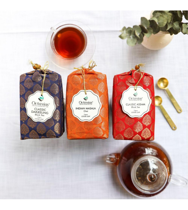 Assortment Of 3 Black Tea 75 Gms Each Assam Darj.  Indian Masala