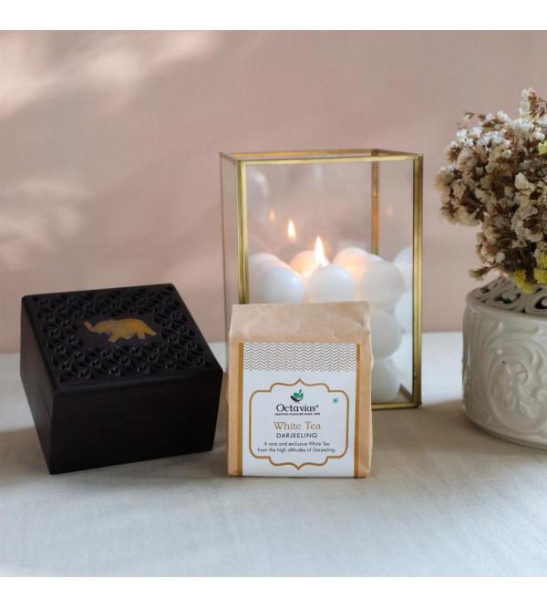 Darjeeeling White Tea In Cutwork  Wooden Box 50 Gms