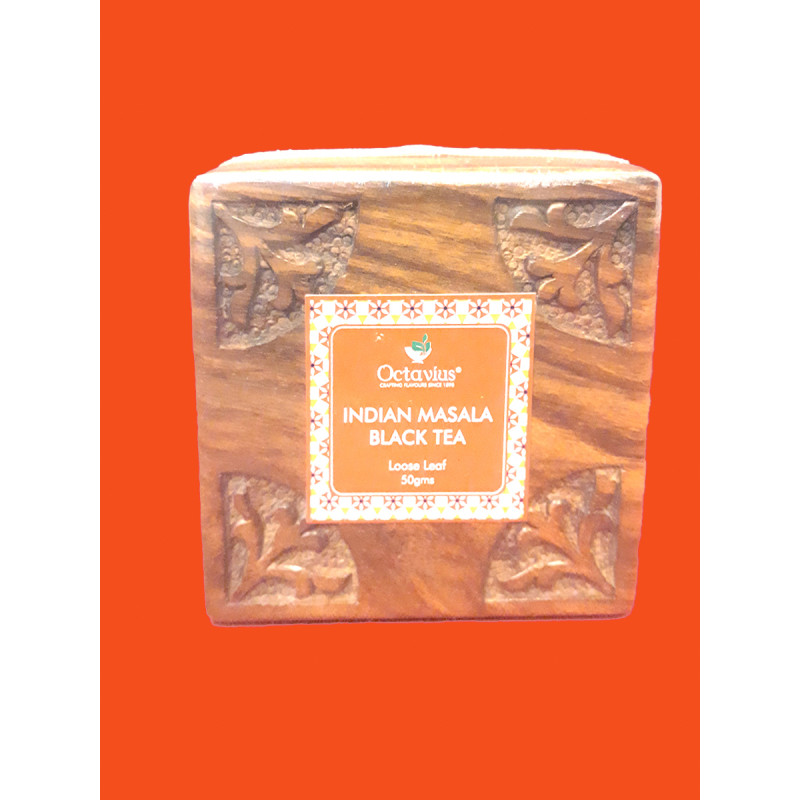 """INDIAN MASALA CHAI IN WOODEN GIFT BOX50 GMS  4""""×4"""""""