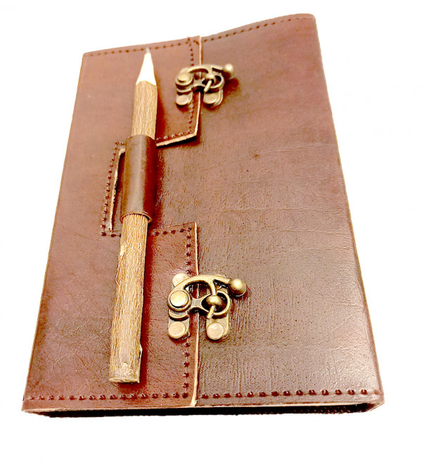 8X525 INCH LEATHER NOTEBOOK WITH NEEM PENCIL DOUBLE METAL CLIP