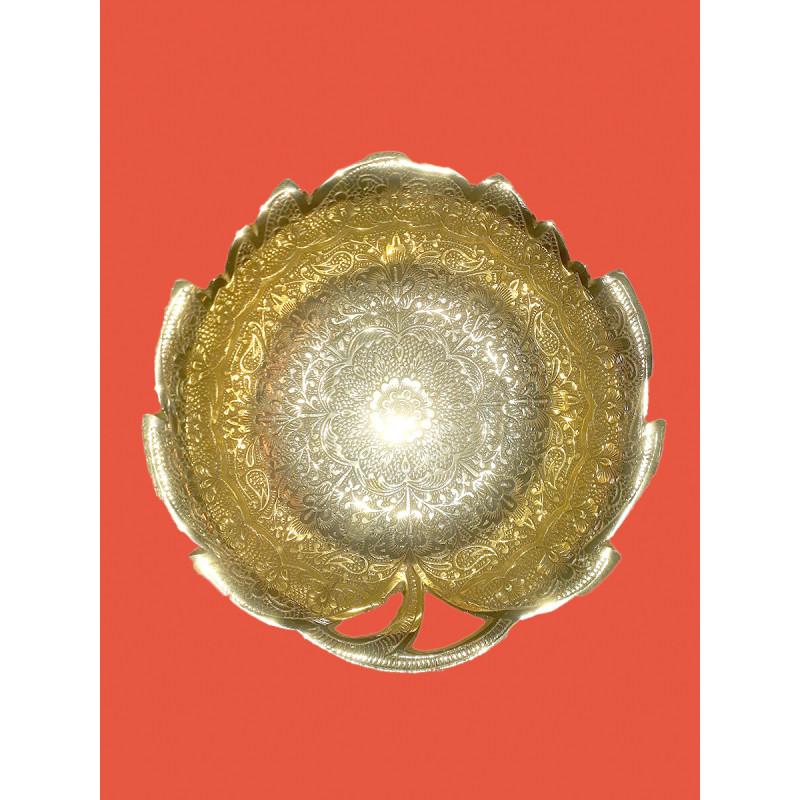 Handicraft Brass Gold Plated Bowl 7.5 Inch