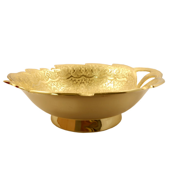 Handicraft Brass Gold Plated Bowl 7.5 Inch