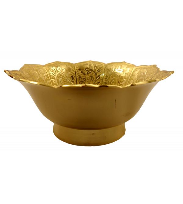 Handicraft Brass Gold Plated Bowl 6.5 Inch