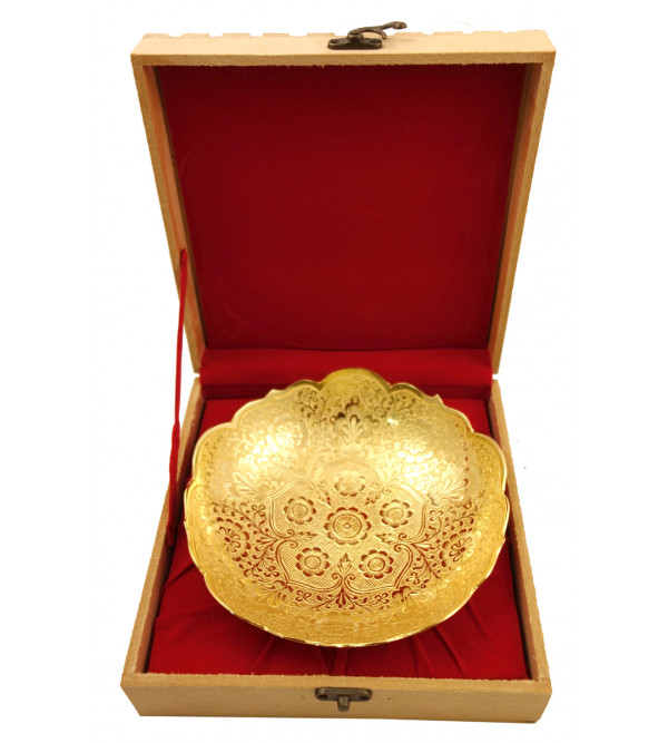 Handicraft Brass Gold Plated Bowl 7 Inch