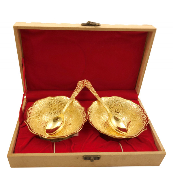 Handicraft Brass Gold Plated Bowl Set