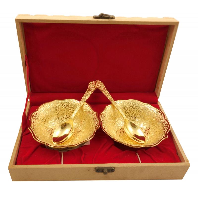 Handicraft Brass Gold Plated Bowl Set
