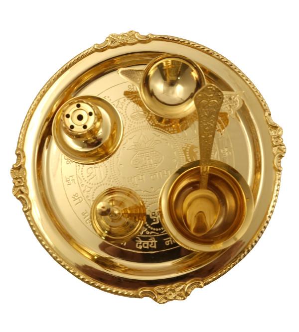Handicraft Brass Gold Plated Puja Thali 6 pcs Set