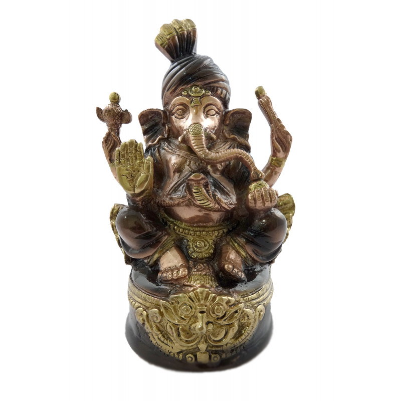 HANDICRAFT GANESH TURBAN 6.5 INCH BRASS COPPER FINISH
