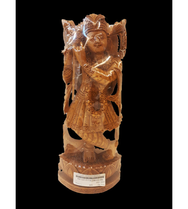 Kadamba Wood Handcrafted Carved Lord Krishna Figure