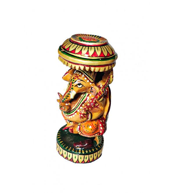 Kadamba Wood Handcrafted and Hand painted Lord Ganesha Figure with Chhatra