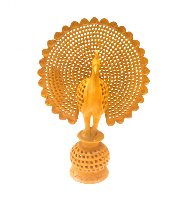 JALI WORK WOODEN PEACOCK 12INCH