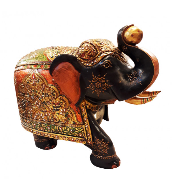 ELEPHANT PAINTED PATHA KADAM WOOD 12 INCH
