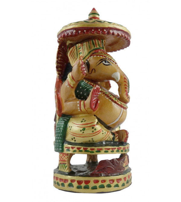 GANESH CHATTEROPEN CARVED KADAM WOOD 4 INCH