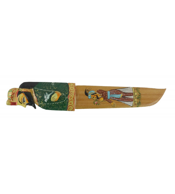 Kadamba wood Handcrafted and Hand painted Paper Cutter/ Paper Knife
