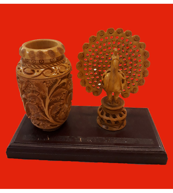 Kadamba Wood Handcrafted Carved Decorative Pen Stand