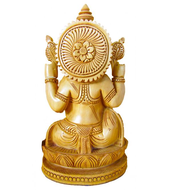Ganesh Kamal Carving Kadamba Wood 8 Inch