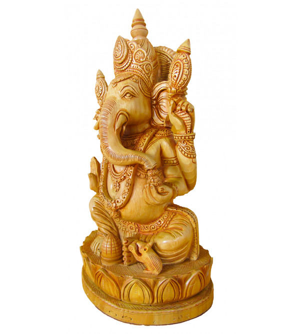 Ganesh Hand Carved Kadamba Wood Size 10 Inch