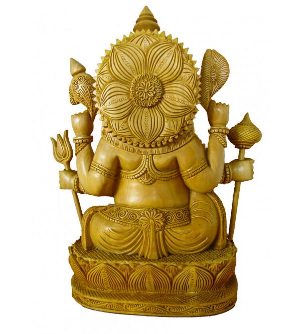 Ganesh Kamal Carving Six Hand Kadamba Wood Size 12 Inch
