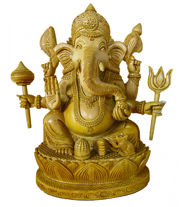 Ganesh Carved Six Hand Kadamba Wood Size 10 Inch