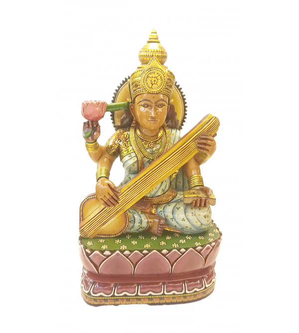 Saraswati wooden painted 19 inch