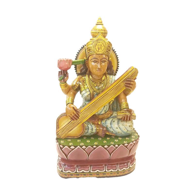 Saraswati wooden painted 19 inch