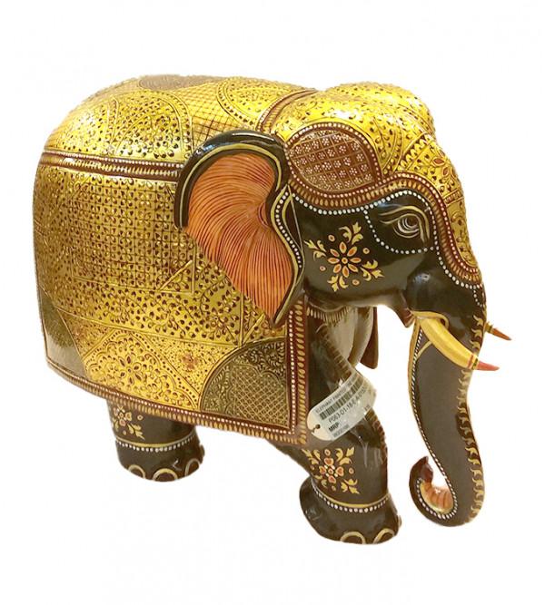 ELEPHANT PAINTED FINE KADAM WOOD 12 inch