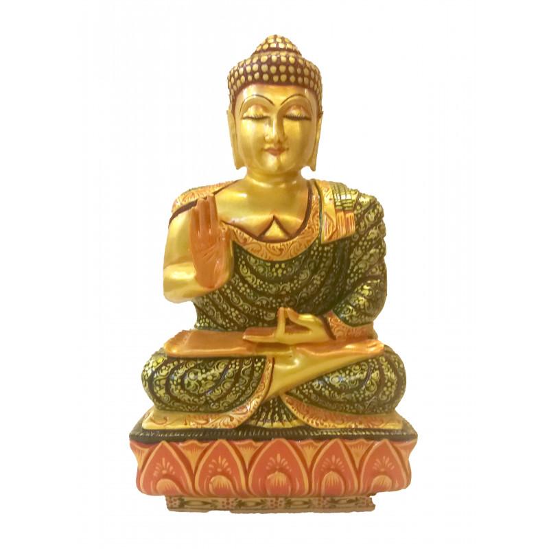 Kadamba Wood Handcrafted and Hand Painted Sitting Figure of Lord Buddha