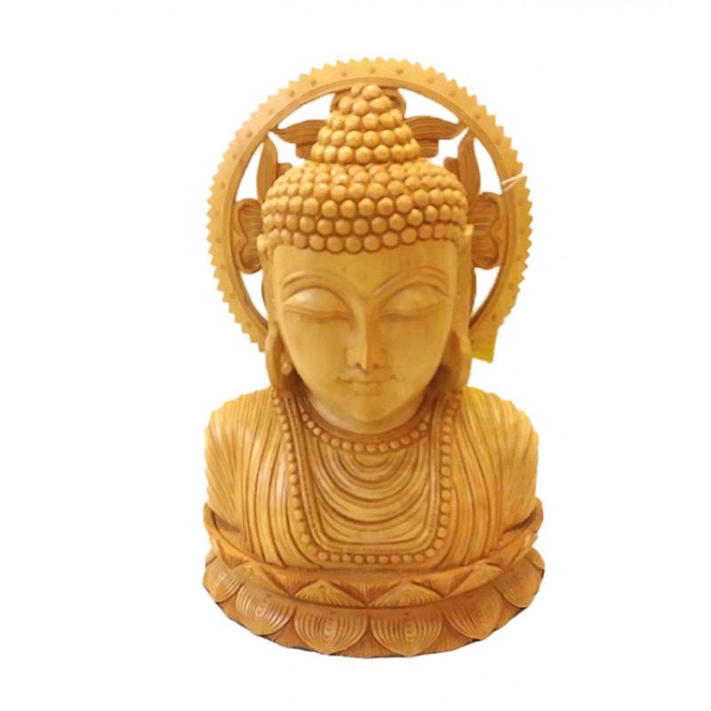 Kadamba Wood Handcrafted Bust of Lord Buddha