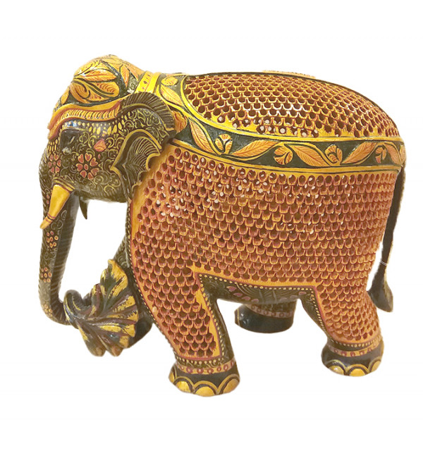 ELEPHANT PAINTED JALI WORK 10 INCH