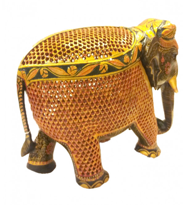 ELEPHANT PAINTED JALI WORK 10 INCH