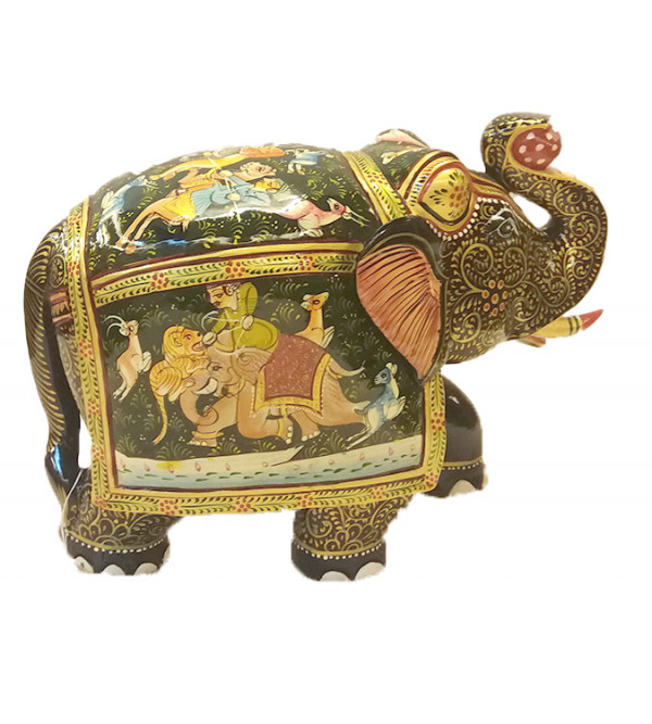 ELEPHANT PAINTED PATHA KADAM WOOD 8 inch